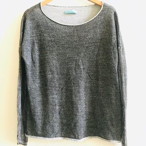 ALICE OLIVIA Gray ribbed sleeve sweater raw hem M